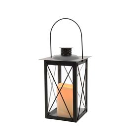 Metal Outdoor Battery Powered Lantern with Flame Effect Light