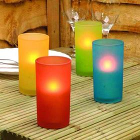Set of 4 Battery Powered Coloured Glass Votive's with LED Candle