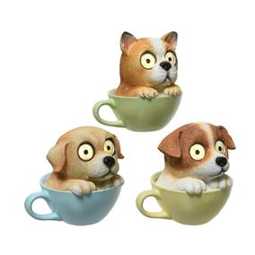 LED Lit Assorted Solar Dogs In Cups (Triple Pack)