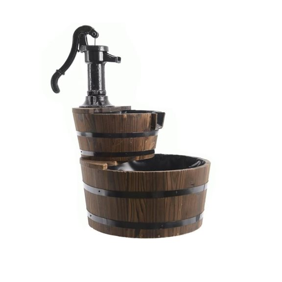 additional image for 2 Tier Wooden Barrel Water Feature with Cast Iron Pump