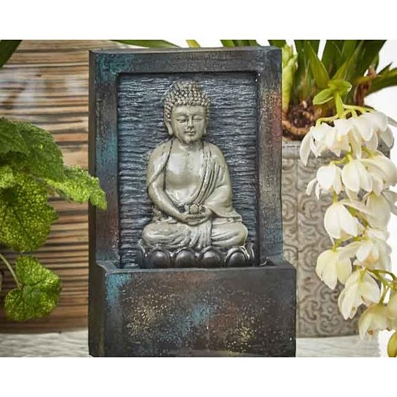 additional image for Charcoal Grey Buddha Sat In Lotus Flower Indoor Water Feature