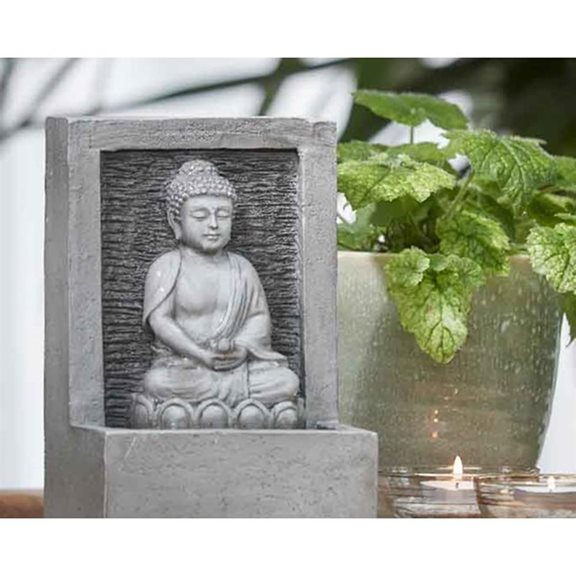 additional image for Pebble Grey Buddha Sat In Lotus Flower Indoor Water Feature