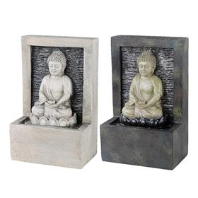 Charcoal Grey Buddha Sat In Lotus Flower Indoor Water Feature