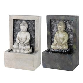 Pebble Grey Buddha Sat In Lotus Flower Indoor Water Feature