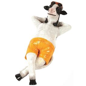 Sunbathing Chilling Cow in Shorts Garden Ornament
