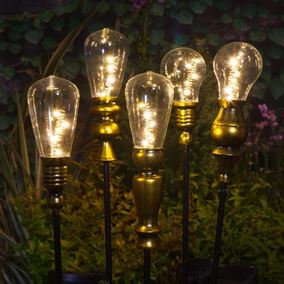 Solar Powered Modern Metallic Light Bulb Stake Light
