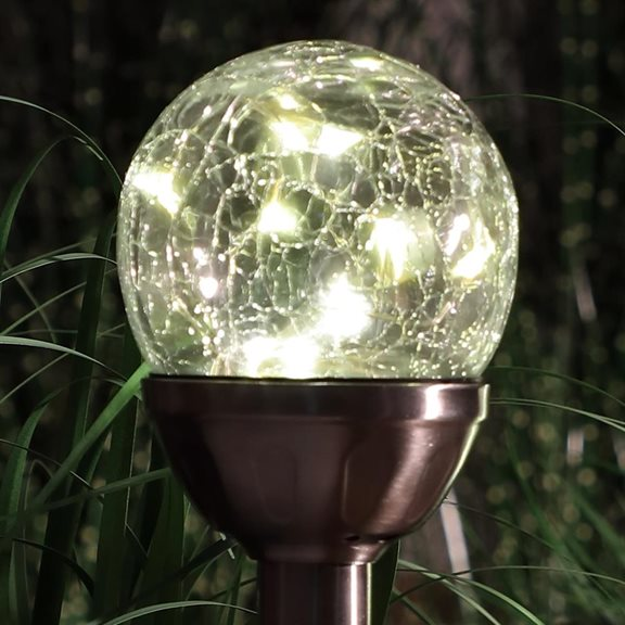 Set Of 4 Solar Stake Crackle Balls With White Leds