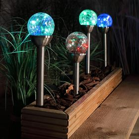 Set of 4 Solar Stake Crackle Balls with Colour Changing LEDs