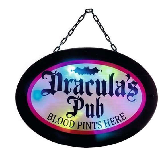 Draclulas Pub Colour Changing Halloween Sign
