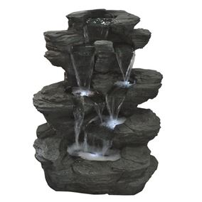 Pine Lake Slate Multi Fall Water Feature with LED Lights