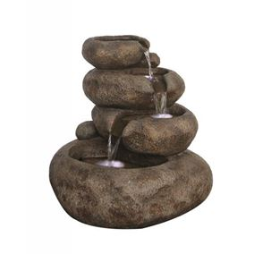4 Level Sandstone Boulder Water Feature with LED Lights