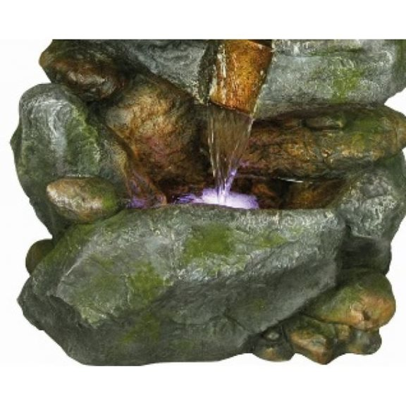 additional image for 3 Fall Boulder Formation Water Feature with 3 Single LED Lights