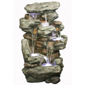 6 Fall Rustic Slate Formation Water Feature with LED Lights