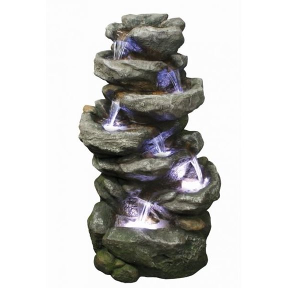 6 Fall Rock Water Feature with LED Lights