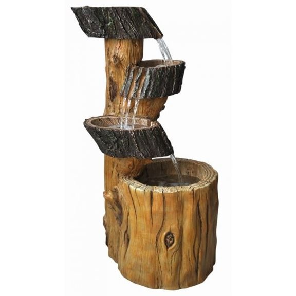 Three Fall Tree Trunk Solar Powered Water Feature