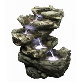 4 Fall Driftwood Water Feature with LED Lights