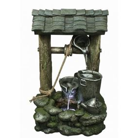 3 Bucket Wishing Well Water Feature with LED Lights