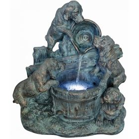 4 Bronzed Puppies Water Feature with LED Lights