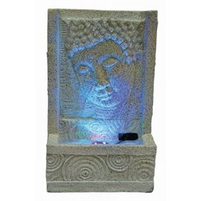 Sandstone Buddha Face with Swirl Indoor Water Feature with LED Lights