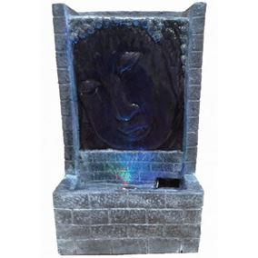 Grey Buddha Face with Brick Indoor Water Feature