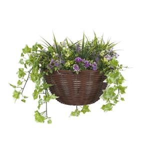 30cm Hanging Basket with Purple and Yellow Flowers