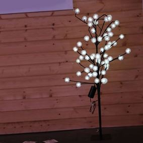 White LED Dahlia Tree with Timer (Battery Powered)