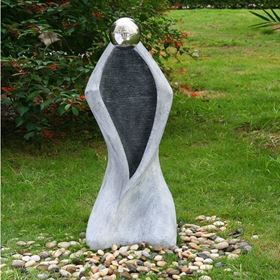 Granite Ripple Man Stainless Steel Sphere Water Feature