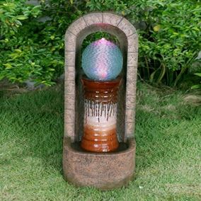 Urn With Glass Sphere Water Feature