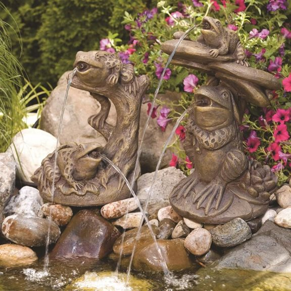 Garden Frogs On Driftwood Garden Pond Spitter