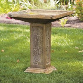 Large Square Cast Stone Bird Bath