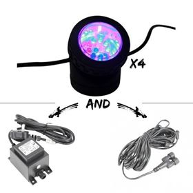 Set of 4 Multi Coloured Extendable Adjustable Spotlight (12 LED) Kit