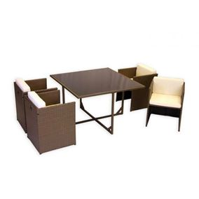Newbury 5 Piece Cube Rattan Garden Set with Beige Cushions