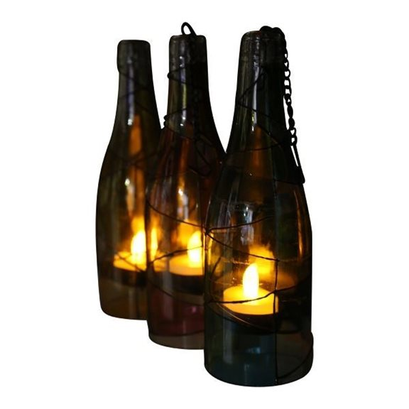 additional image for Hanging Retro Glass Bottles with Battery Tealights (3 Pack)