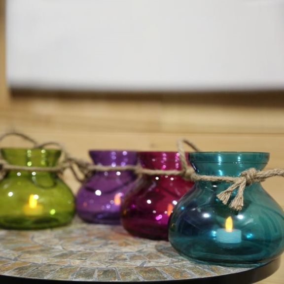 additional image for Large Colourful Glass Candle Holder with Rope and Battery Tealight (4 Pack)