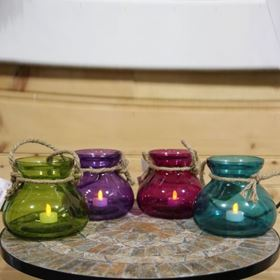 Large Colourful Glass Candle Holder with Rope and Battery Tealight (4 Pack)
