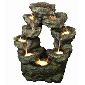 9 Fall Stacked Rock Lit Water Feature