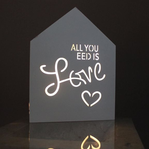 additional image for 'All You Need Is Love' Lit White Wooden Sign (Battery Powered)