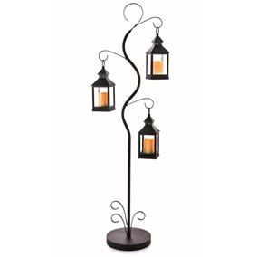 Black Metal Stand with 3 Battery Powered Flickering Candle Lanterns