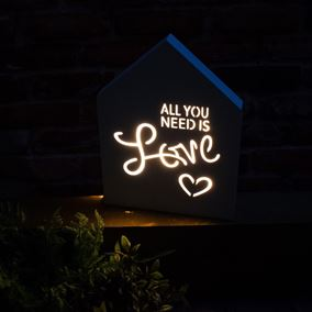 'All You Need Is Love' Lit White Wooden Sign (Battery Powered)