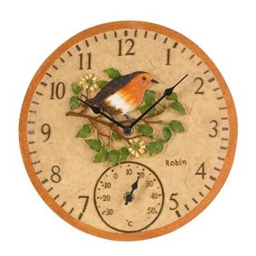 Battery Powered Garden Robin Wall Clock and Thermometer