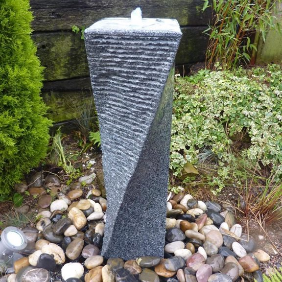 75cm Black Limestone Twisted Tower Water Feature Kit