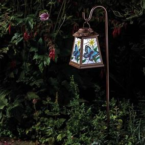 Hand Painted Glass Butterfly Lantern