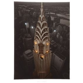 Chrysler Building New York at Night LED Lit Wall Canvas