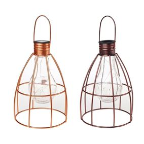 Large Solar Powered Metal Caged Light Bulb Lantern