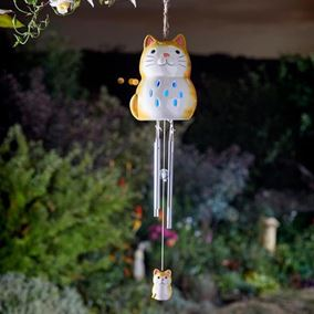 Solar Powered Ceramic Cat Outdoor Windchime (Colour Changing LED)
