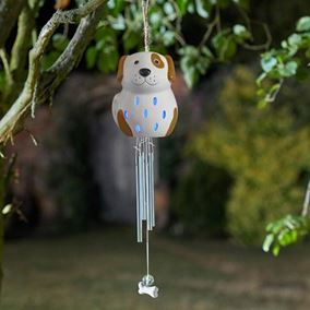 Solar Powered Ceramic Dog Outdoor Windchime (Colour Changing LED)