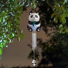 Solar Powered Ceramic Panda Outdoor Windchime (Colour Changing LED)