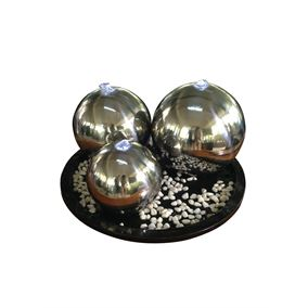 Chennai Triple Stainless Steel Sphere LED Lit Water Feature