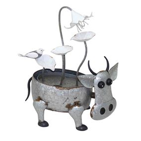 Metal Cow with Flowers Water Feature