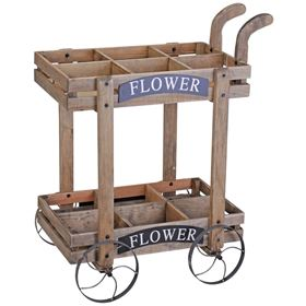 Decorative Wooden Pushcart Planter